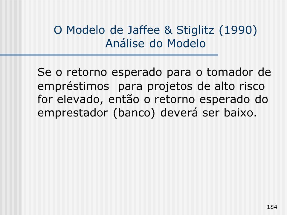 184 O Modelo de Jaffee & Stiglitz (1990) Análise do Modelo Se o retorno esperado para o tomador de empréstimos para projetos de alto risco for elevado, então o retorno esperado do emprestador (banco) deverá ser baixo.
