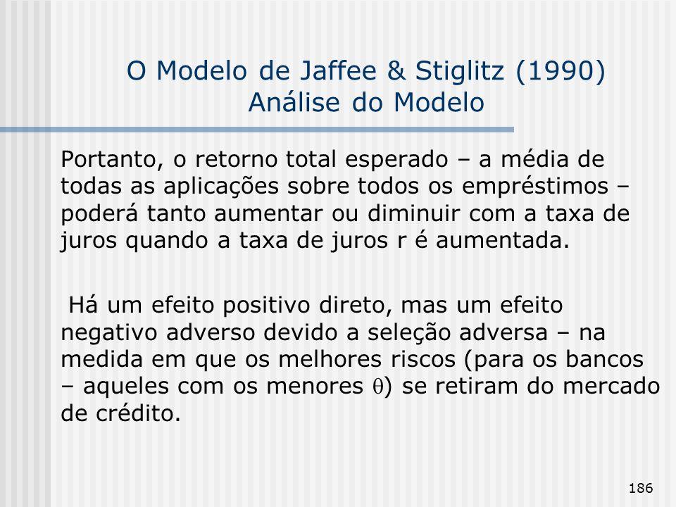 186 O Modelo de Jaffee & Stiglitz (1990) Análise do Modelo Portanto, o retorno total esperado – a média de todas as aplicações sobre todos os emprésti