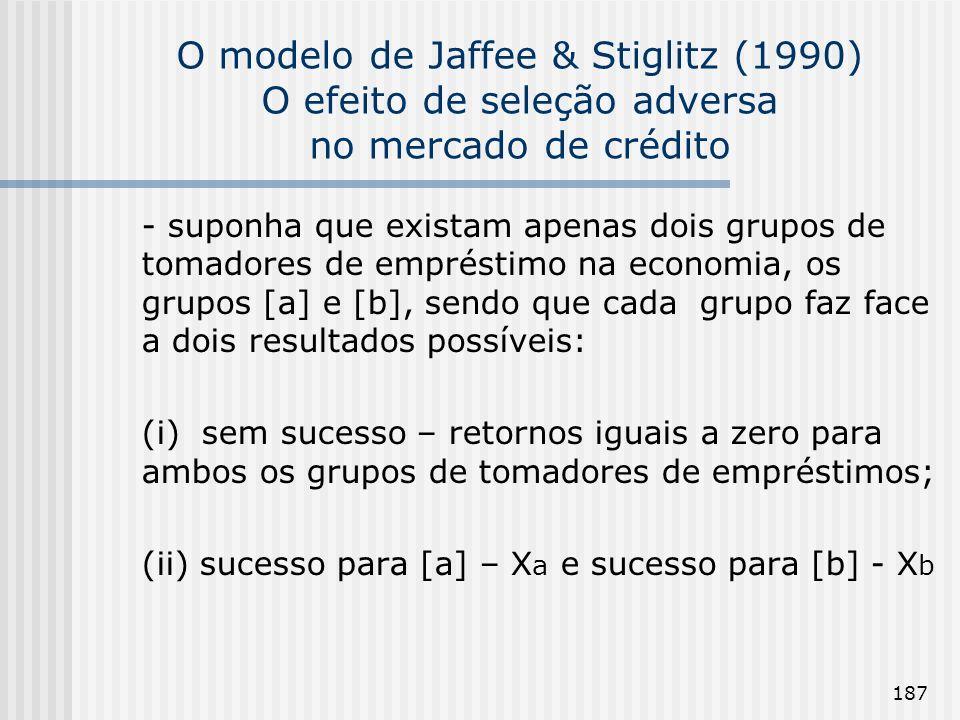 187 O modelo de Jaffee & Stiglitz (1990) O efeito de seleção adversa no mercado de crédito - suponha que existam apenas dois grupos de tomadores de em