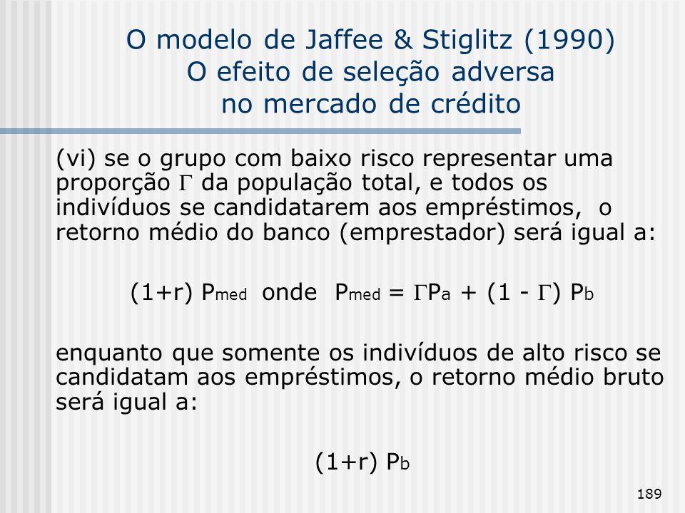 189 O modelo de Jaffee & Stiglitz (1990) O efeito de seleção adversa no mercado de crédito (vi) se o grupo com baixo risco representar uma proporção da população total, e todos os indivíduos se candidatarem aos empréstimos, o retorno médio do banco (emprestador) será igual a: (1+r) P med onde P med = P a + (1 - ) P b enquanto que somente os indivíduos de alto risco se candidatam aos empréstimos, o retorno médio bruto será igual a: (1+r) P b