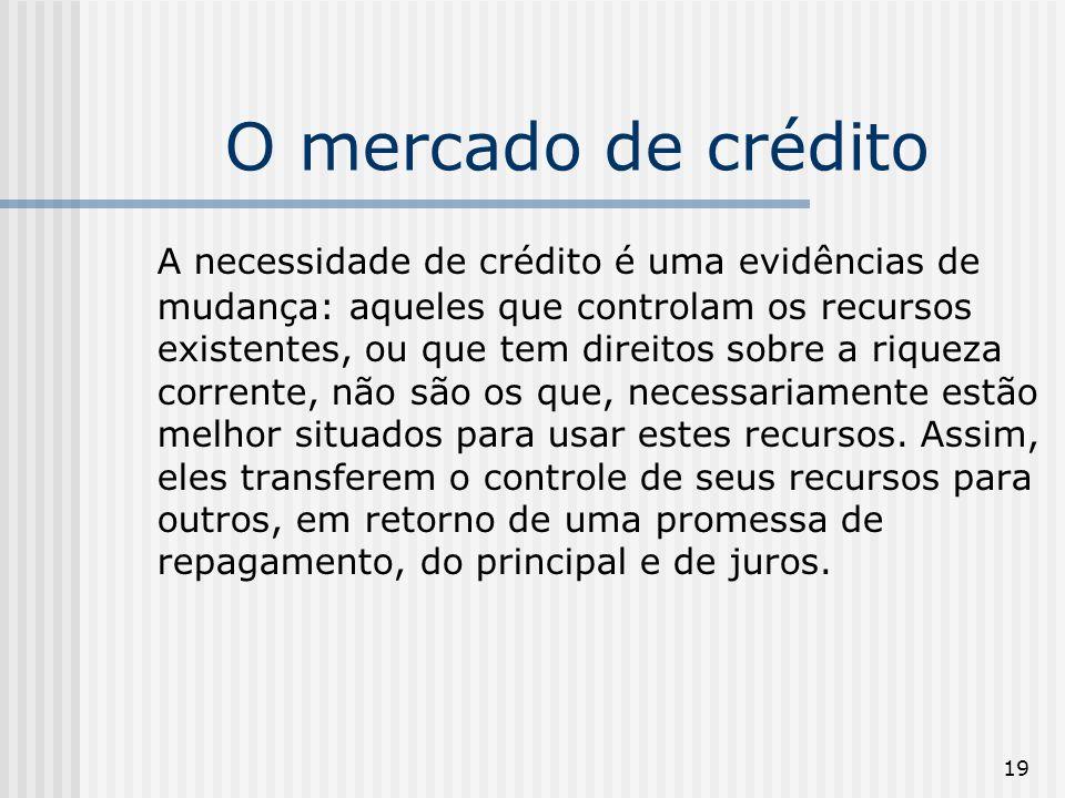 19 O mercado de crédito A necessidade de crédito é uma evidências de mudança: aqueles que controlam os recursos existentes, ou que tem direitos sobre a riqueza corrente, não são os que, necessariamente estão melhor situados para usar estes recursos.
