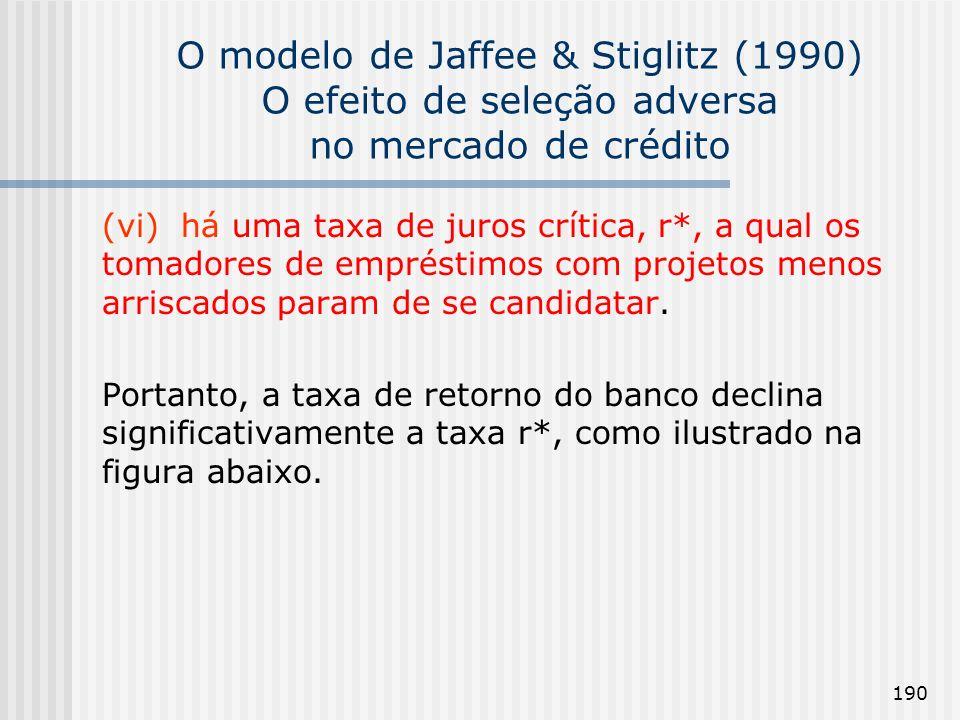 190 O modelo de Jaffee & Stiglitz (1990) O efeito de seleção adversa no mercado de crédito (vi) há uma taxa de juros crítica, r*, a qual os tomadores