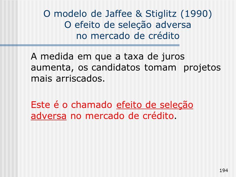 194 O modelo de Jaffee & Stiglitz (1990) O efeito de seleção adversa no mercado de crédito A medida em que a taxa de juros aumenta, os candidatos tomam projetos mais arriscados.