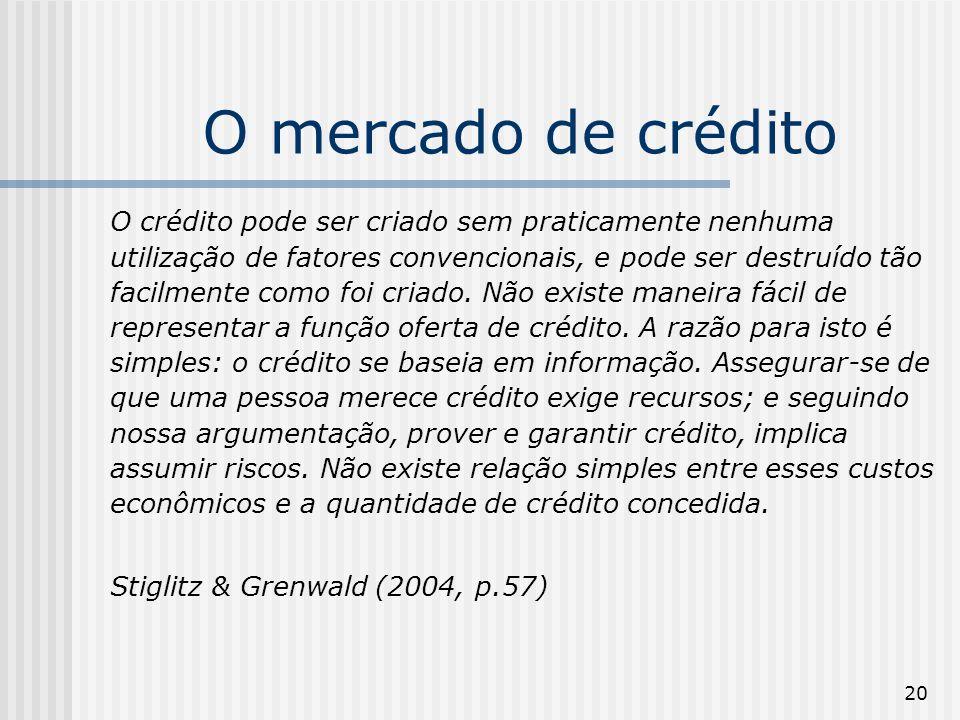 20 O mercado de crédito O crédito pode ser criado sem praticamente nenhuma utilização de fatores convencionais, e pode ser destruído tão facilmente co