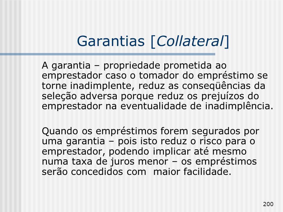 200 Garantias [Collateral] A garantia – propriedade prometida ao emprestador caso o tomador do empréstimo se torne inadimplente, reduz as conseqüências da seleção adversa porque reduz os prejuízos do emprestador na eventualidade de inadimplência.