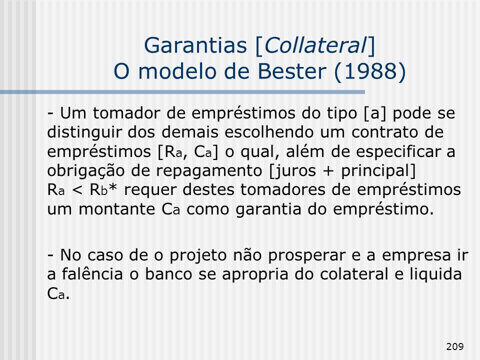 209 Garantias [Collateral] O modelo de Bester (1988) - Um tomador de empréstimos do tipo [a] pode se distinguir dos demais escolhendo um contrato de empréstimos [R a, C a ] o qual, além de especificar a obrigação de repagamento [juros + principal] R a < R b * requer destes tomadores de empréstimos um montante C a como garantia do empréstimo.