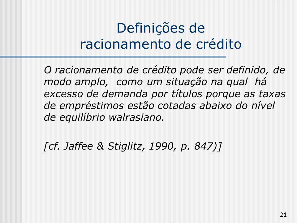 21 Definições de racionamento de crédito O racionamento de crédito pode ser definido, de modo amplo, como um situação na qual há excesso de demanda por títulos porque as taxas de empréstimos estão cotadas abaixo do nível de equilíbrio walrasiano.
