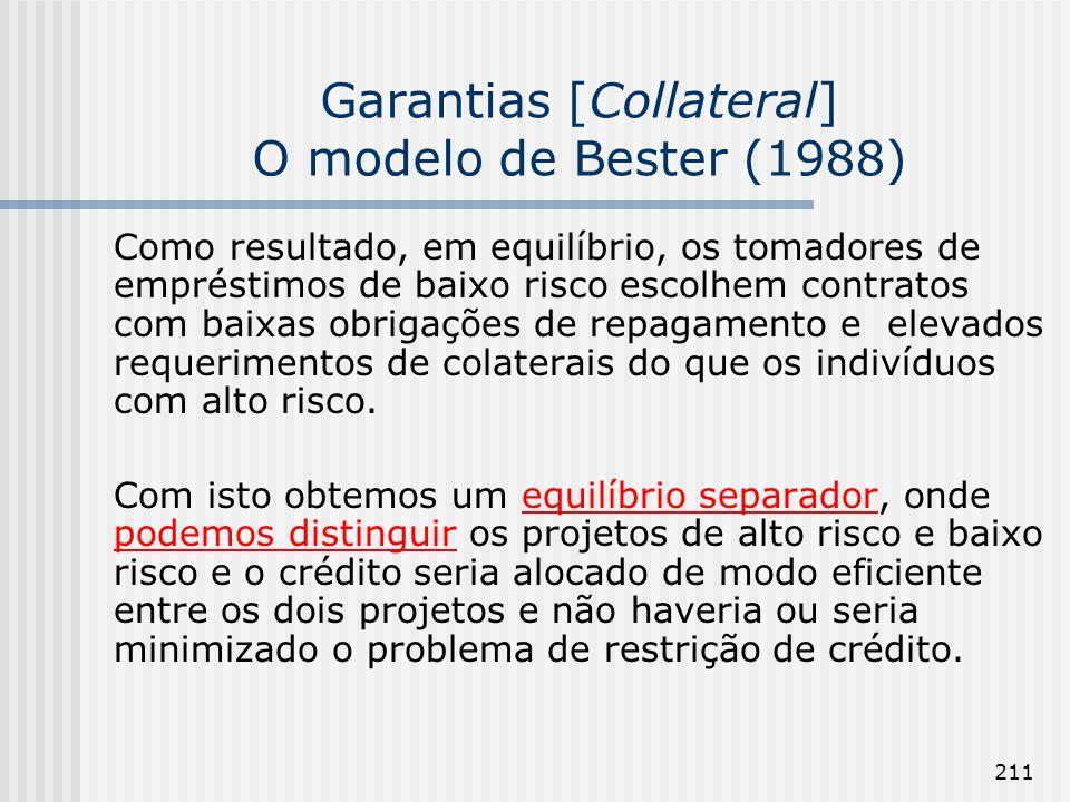 211 Garantias [Collateral] O modelo de Bester (1988) Como resultado, em equilíbrio, os tomadores de empréstimos de baixo risco escolhem contratos com baixas obrigações de repagamento e elevados requerimentos de colaterais do que os indivíduos com alto risco.