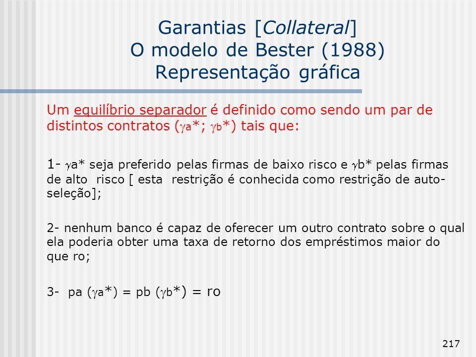 217 Garantias [Collateral] O modelo de Bester (1988) Representação gráfica Um equilíbrio separador é definido como sendo um par de distintos contratos ( a *; b *) tais que: 1-a* seja preferido pelas firmas de baixo risco e b* pelas firmas de alto risco [ esta restrição é conhecida como restrição de auto- seleção]; 2- nenhum banco é capaz de oferecer um outro contrato sobre o qual ela poderia obter uma taxa de retorno dos empréstimos maior do que ro; 3- pa ( a * ) = pb ( b *) = ro