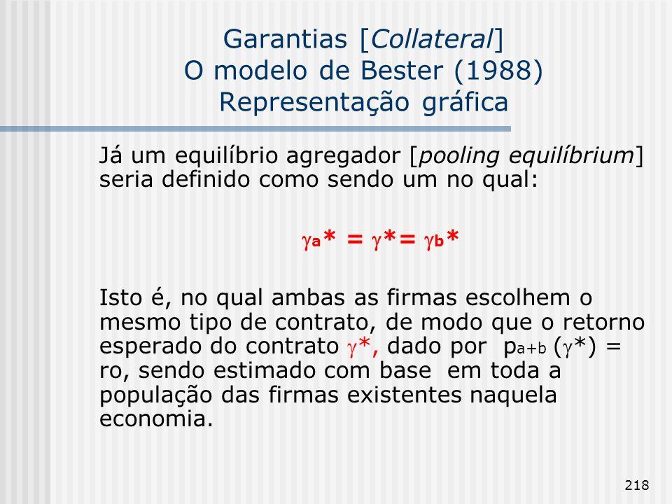 218 Garantias [Collateral] O modelo de Bester (1988) Representação gráfica Já um equilíbrio agregador [pooling equilíbrium] seria definido como sendo um no qual: a * = *= b * Isto é, no qual ambas as firmas escolhem o mesmo tipo de contrato, de modo que o retorno esperado do contrato *, dado por p a+b (*) = ro, sendo estimado com base em toda a população das firmas existentes naquela economia.