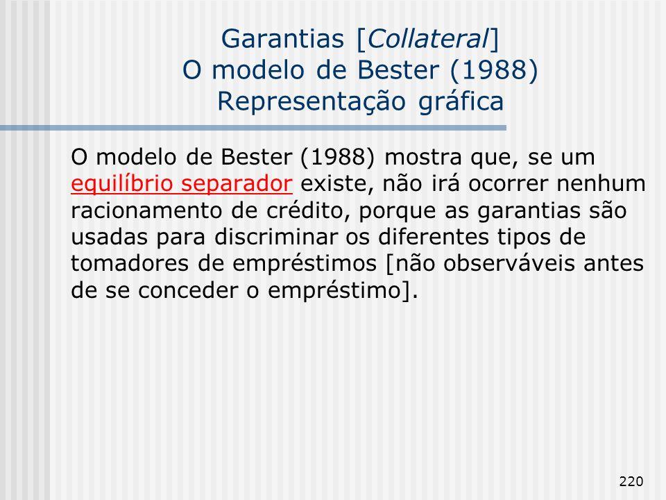 220 Garantias [Collateral] O modelo de Bester (1988) Representação gráfica O modelo de Bester (1988) mostra que, se um equilíbrio separador existe, não irá ocorrer nenhum racionamento de crédito, porque as garantias são usadas para discriminar os diferentes tipos de tomadores de empréstimos [não observáveis antes de se conceder o empréstimo].