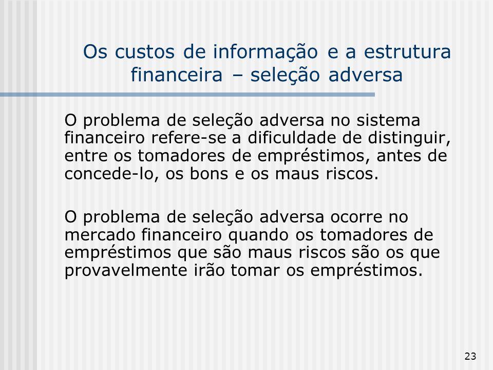 23 Os custos de informação e a estrutura financeira – seleção adversa O problema de seleção adversa no sistema financeiro refere-se a dificuldade de distinguir, entre os tomadores de empréstimos, antes de concede-lo, os bons e os maus riscos.