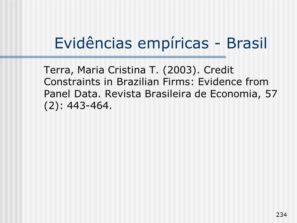 234 Evidências empíricas - Brasil Terra, Maria Cristina T. (2003). Credit Constraints in Brazilian Firms: Evidence from Panel Data. Revista Brasileira