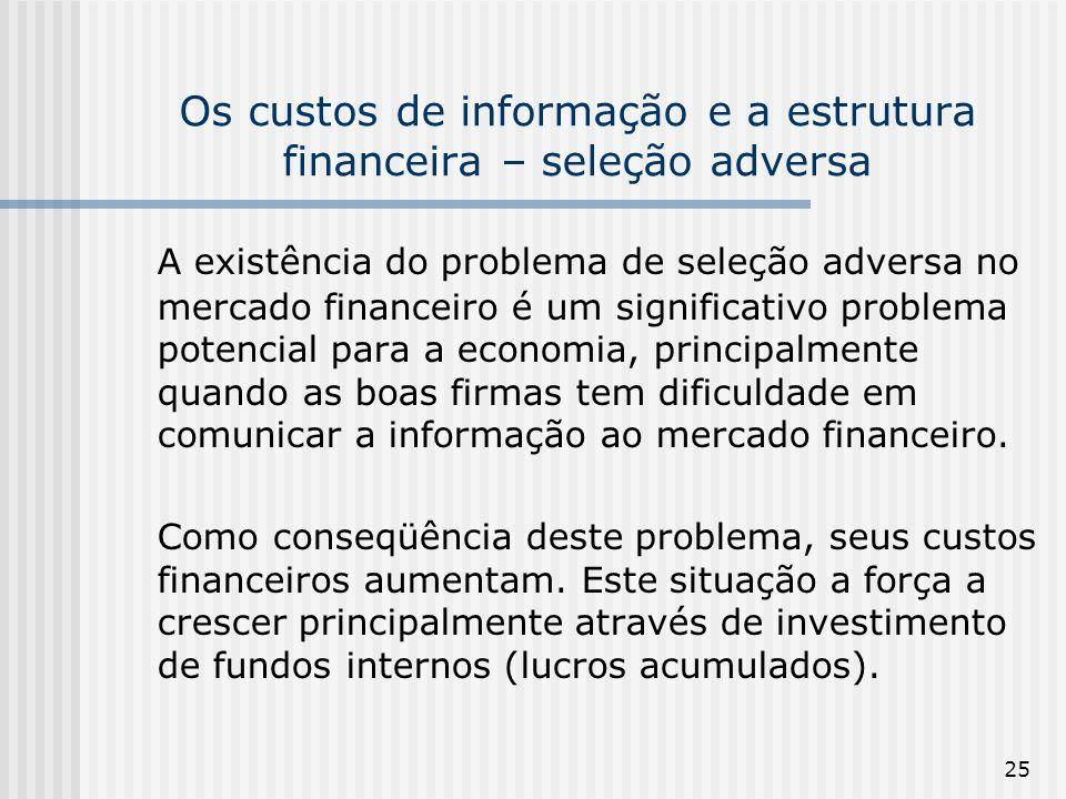25 Os custos de informação e a estrutura financeira – seleção adversa A existência do problema de seleção adversa no mercado financeiro é um significa