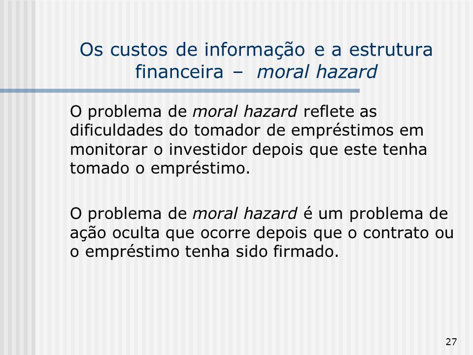 27 Os custos de informação e a estrutura financeira – moral hazard O problema de moral hazard reflete as dificuldades do tomador de empréstimos em monitorar o investidor depois que este tenha tomado o empréstimo.