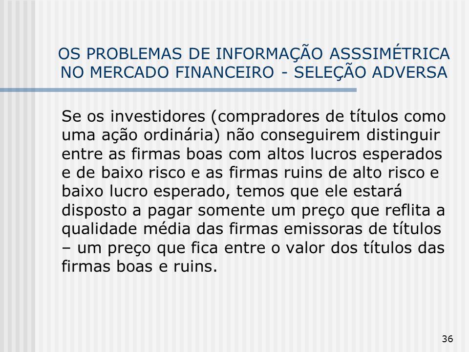 36 OS PROBLEMAS DE INFORMAÇÃO ASSSIMÉTRICA NO MERCADO FINANCEIRO - SELEÇÃO ADVERSA Se os investidores (compradores de títulos como uma ação ordinária)