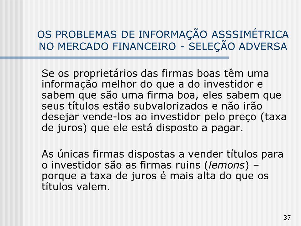 37 OS PROBLEMAS DE INFORMAÇÃO ASSSIMÉTRICA NO MERCADO FINANCEIRO - SELEÇÃO ADVERSA Se os proprietários das firmas boas têm uma informação melhor do qu