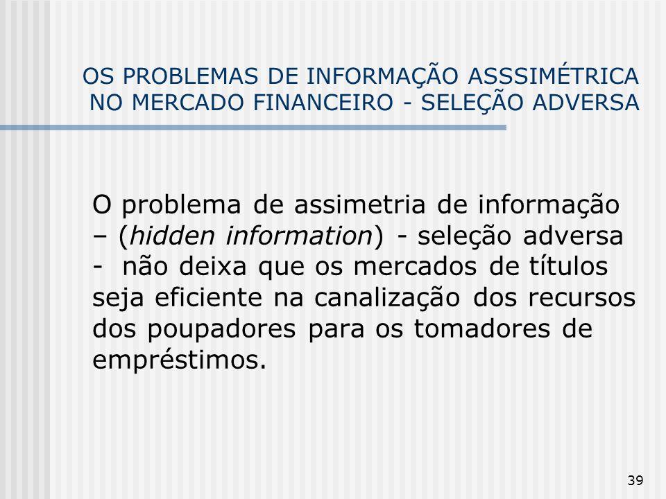 39 OS PROBLEMAS DE INFORMAÇÃO ASSSIMÉTRICA NO MERCADO FINANCEIRO - SELEÇÃO ADVERSA O problema de assimetria de informação – (hidden information) - sel