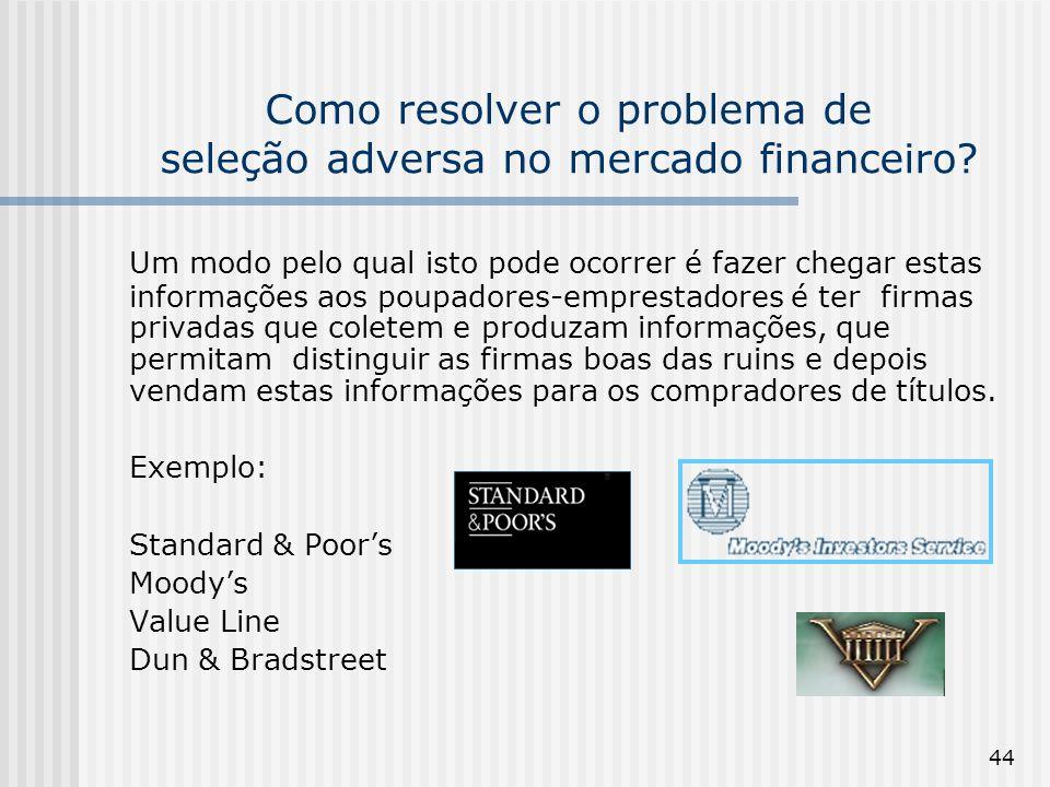 44 Como resolver o problema de seleção adversa no mercado financeiro? Um modo pelo qual isto pode ocorrer é fazer chegar estas informações aos poupado