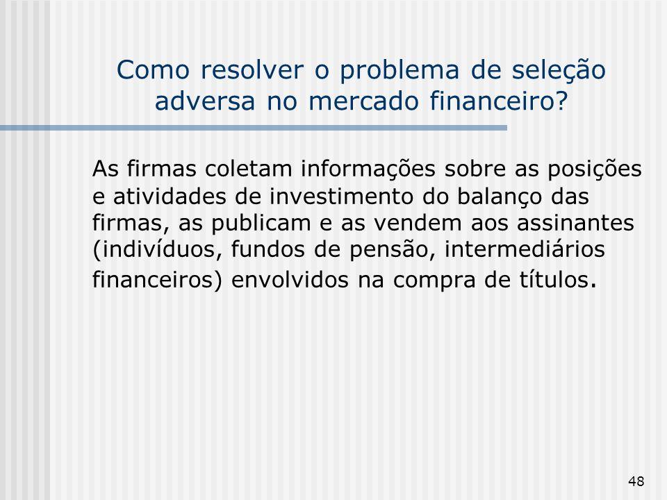 48 Como resolver o problema de seleção adversa no mercado financeiro? As firmas coletam informações sobre as posições e atividades de investimento do
