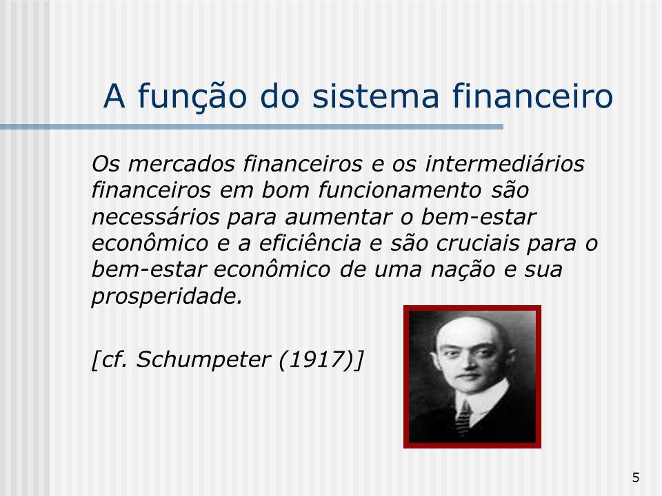 5 A função do sistema financeiro Os mercados financeiros e os intermediários financeiros em bom funcionamento são necessários para aumentar o bem-estar econômico e a eficiência e são cruciais para o bem-estar econômico de uma nação e sua prosperidade.