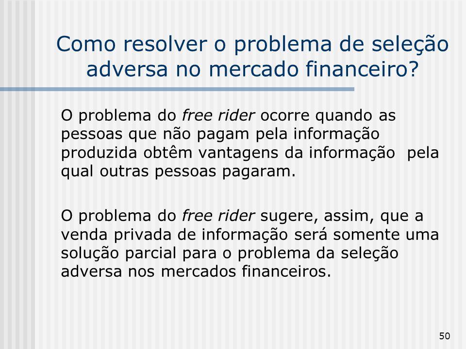 50 Como resolver o problema de seleção adversa no mercado financeiro? O problema do free rider ocorre quando as pessoas que não pagam pela informação