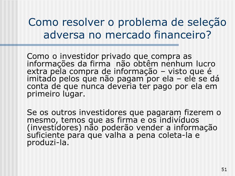 51 Como resolver o problema de seleção adversa no mercado financeiro? Como o investidor privado que compra as informações da firma não obtêm nenhum lu