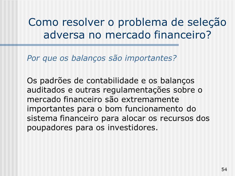 54 Como resolver o problema de seleção adversa no mercado financeiro? Por que os balanços são importantes? Os padrões de contabilidade e os balanços a