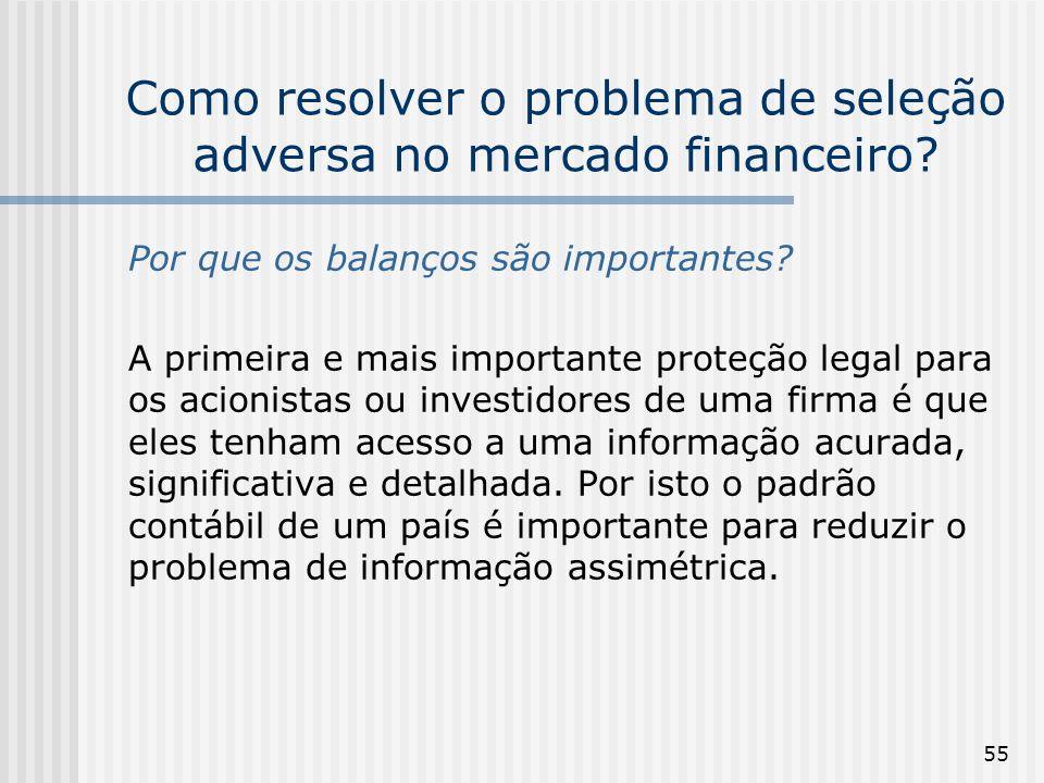 55 Como resolver o problema de seleção adversa no mercado financeiro? Por que os balanços são importantes? A primeira e mais importante proteção legal