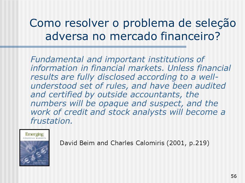 56 Como resolver o problema de seleção adversa no mercado financeiro? Fundamental and important institutions of information in financial markets. Unle
