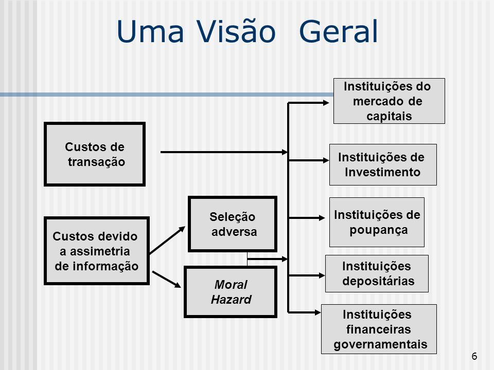 6 Uma Visão Geral Custos de transação Custos devido a assimetria de informação Seleção adversa Moral Hazard Instituições do mercado de capitais Instit