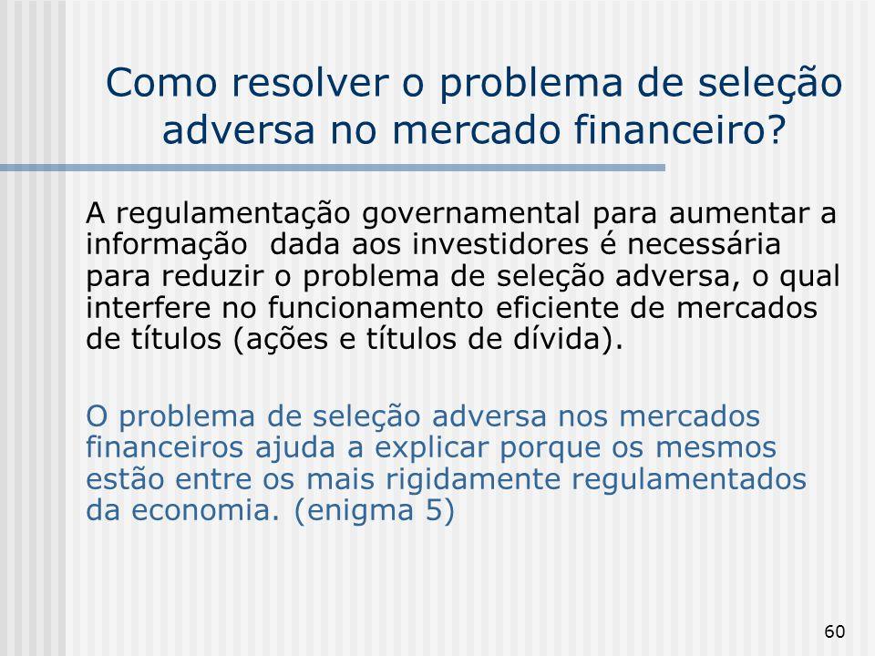 60 Como resolver o problema de seleção adversa no mercado financeiro? A regulamentação governamental para aumentar a informação dada aos investidores