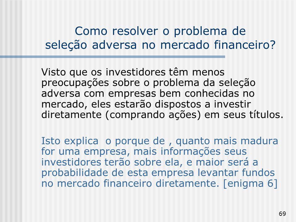 69 Como resolver o problema de seleção adversa no mercado financeiro? Visto que os investidores têm menos preocupações sobre o problema da seleção adv