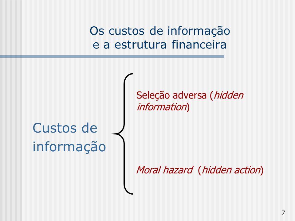 8 Assimetria de informação Seleção adversa Sinalização Screening Moral Hazard Contratos Incentivos contrato Pré-contratual (hidden information) Pós-contratual (hidden action)