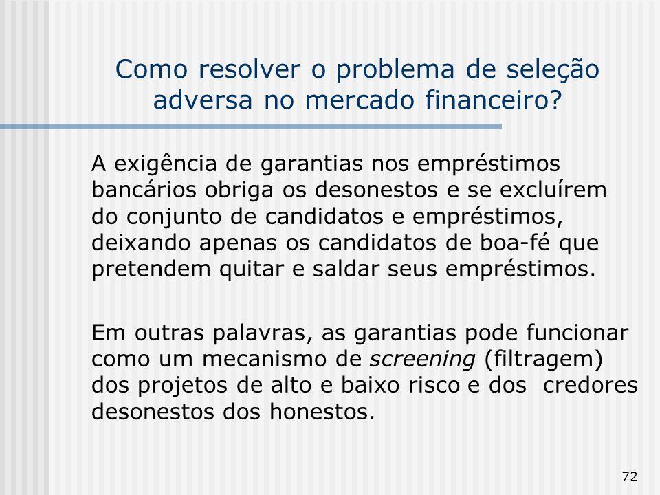 72 Como resolver o problema de seleção adversa no mercado financeiro? A exigência de garantias nos empréstimos bancários obriga os desonestos e se exc