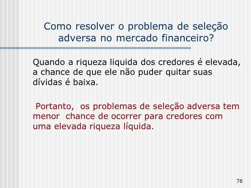 76 Como resolver o problema de seleção adversa no mercado financeiro? Quando a riqueza liquida dos credores é elevada, a chance de que ele não puder q