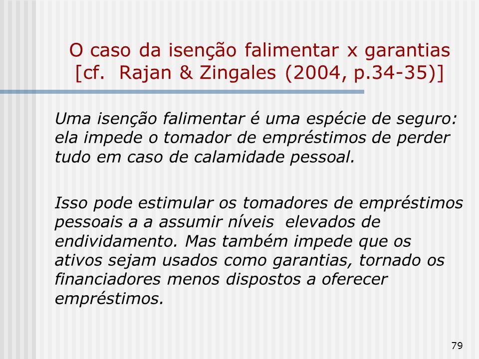 79 O caso da isenção falimentar x garantias [cf. Rajan & Zingales (2004, p.34-35)] Uma isenção falimentar é uma espécie de seguro: ela impede o tomado