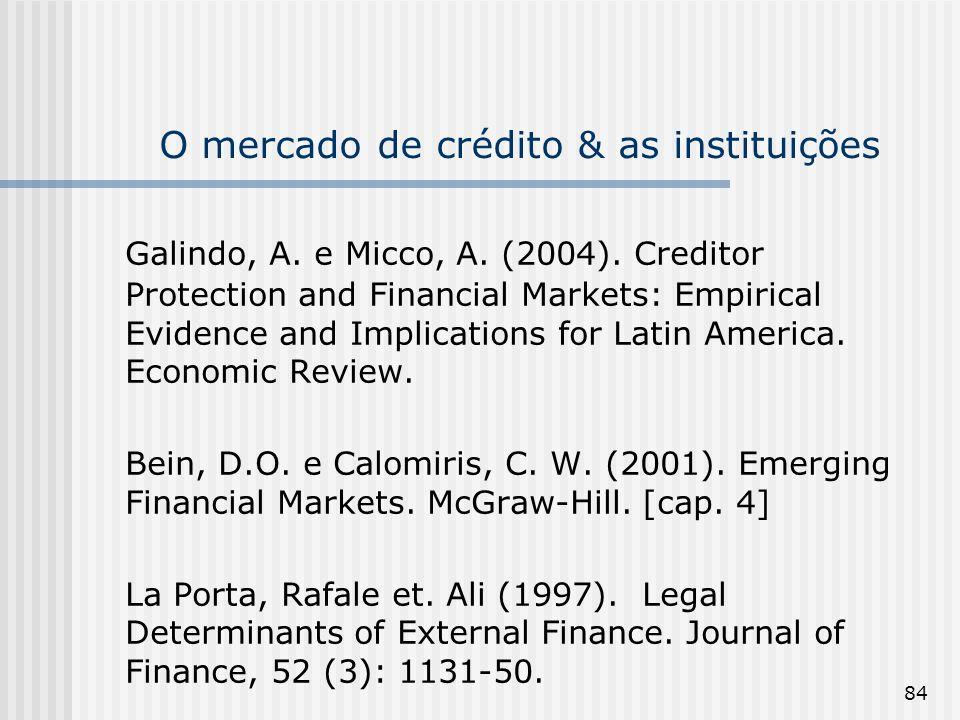 84 O mercado de crédito & as instituições Galindo, A. e Micco, A. (2004). Creditor Protection and Financial Markets: Empirical Evidence and Implicatio