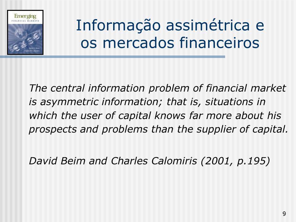 9 Informação assimétrica e os mercados financeiros The central information problem of financial market is asymmetric information; that is, situations