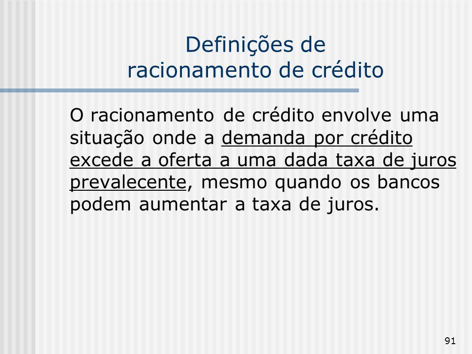 91 Definições de racionamento de crédito O racionamento de crédito envolve uma situação onde a demanda por crédito excede a oferta a uma dada taxa de juros prevalecente, mesmo quando os bancos podem aumentar a taxa de juros.