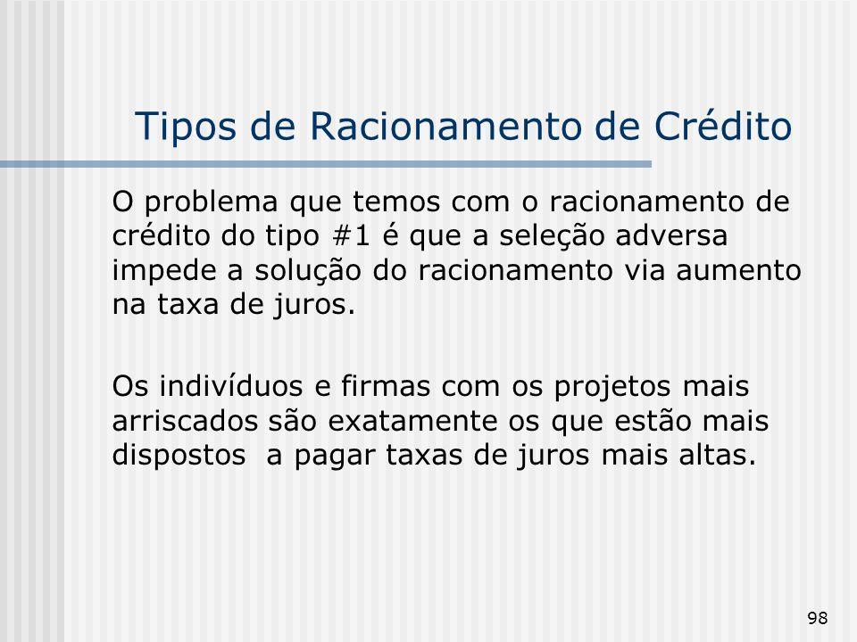 98 Tipos de Racionamento de Crédito O problema que temos com o racionamento de crédito do tipo #1 é que a seleção adversa impede a solução do racionamento via aumento na taxa de juros.