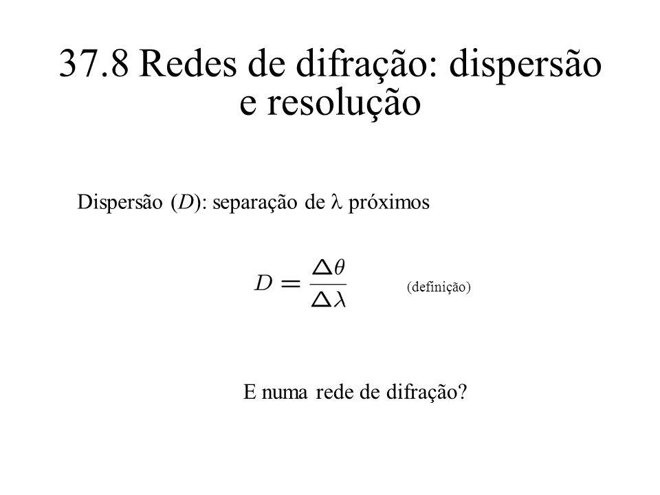 37.8 Redes de difração: dispersão e resolução Dispersão (D): separação de próximos (definição) E numa rede de difração?