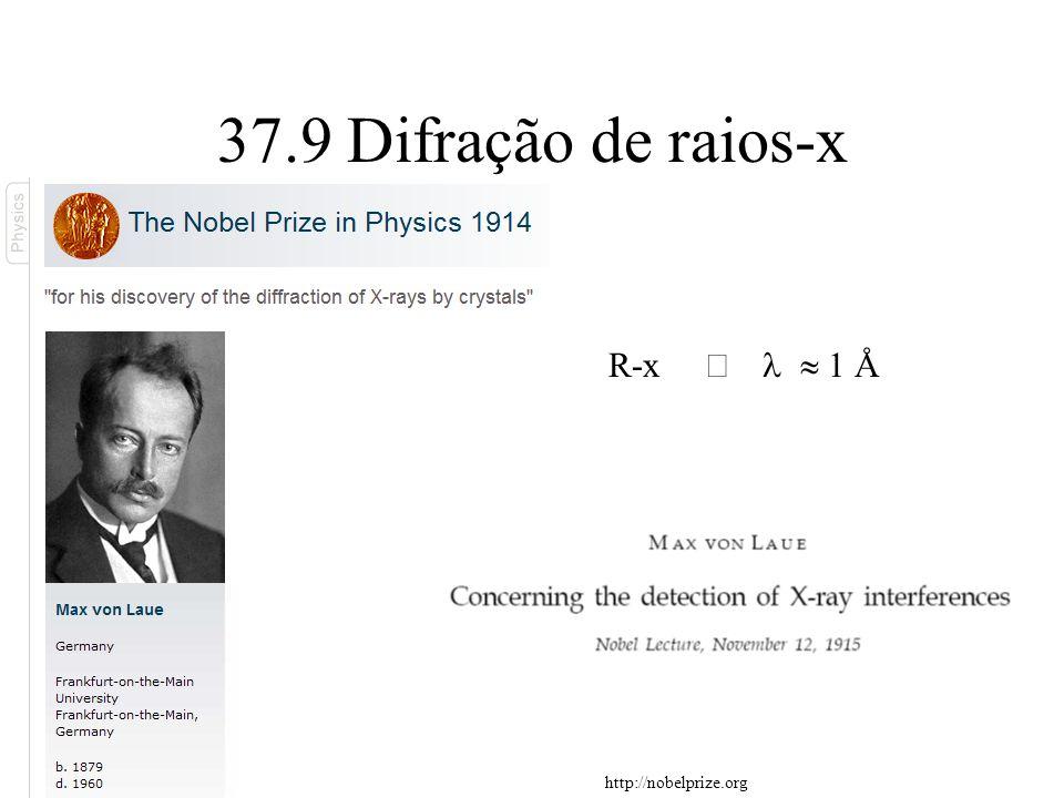 37.9 Difração de raios-x R-x 1 Å http://nobelprize.org