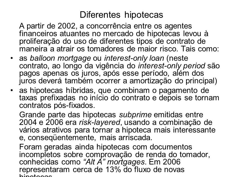 Diferentes hipotecas A partir de 2002, a concorrência entre os agentes financeiros atuantes no mercado de hipotecas levou à proliferação do uso de dif