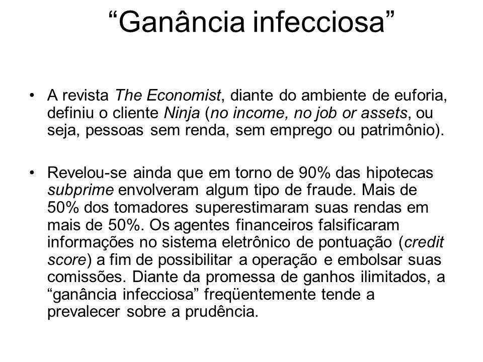 Ganância infecciosa A revista The Economist, diante do ambiente de euforia, definiu o cliente Ninja (no income, no job or assets, ou seja, pessoas sem