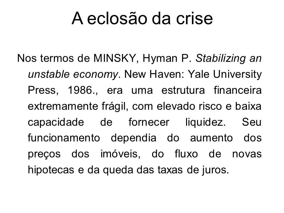 Nos termos de MINSKY, Hyman P. Stabilizing an unstable economy. New Haven: Yale University Press, 1986., era uma estrutura financeira extremamente frá