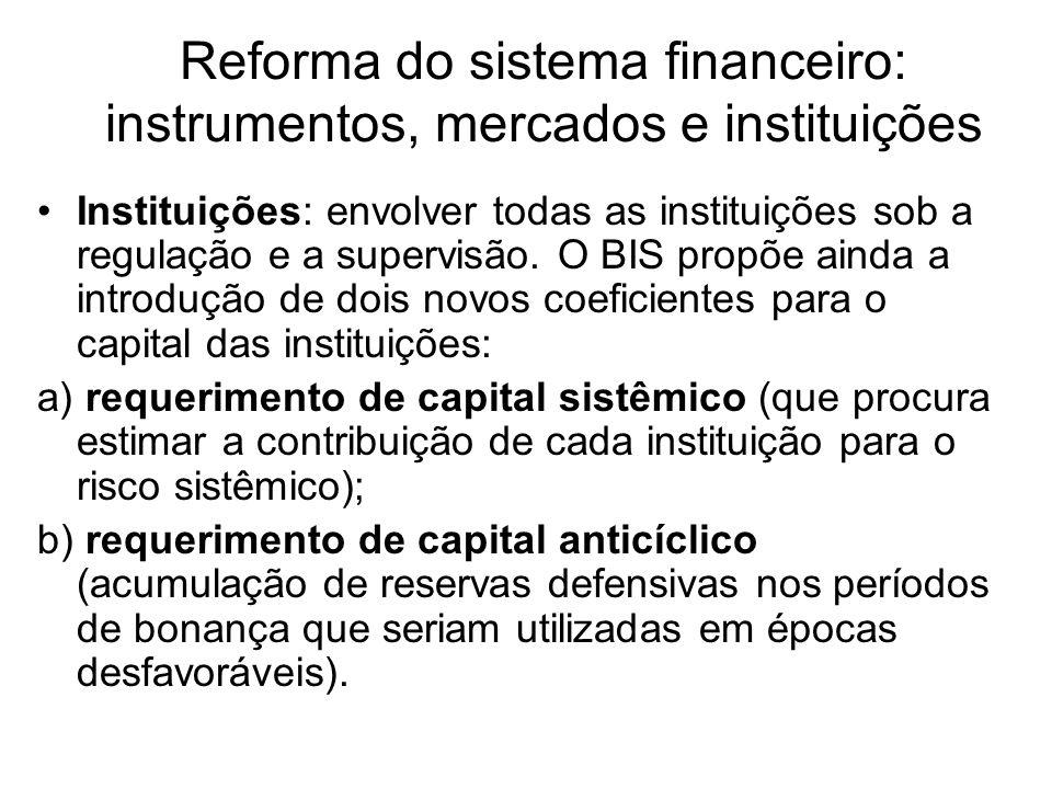 Reforma do sistema financeiro: instrumentos, mercados e instituições Instituições: envolver todas as instituições sob a regulação e a supervisão. O BI