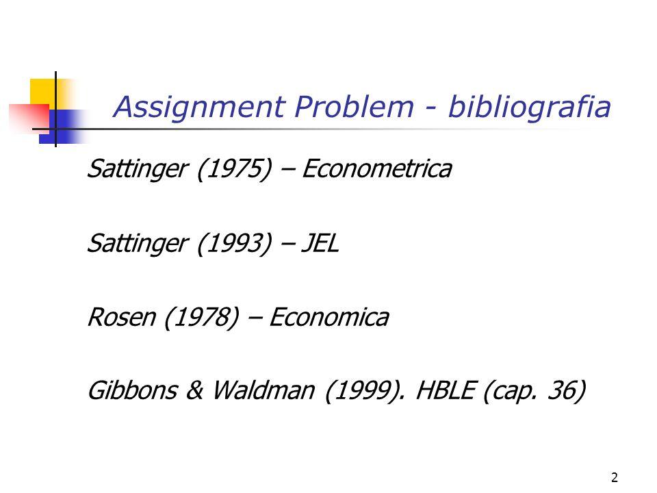 2 Assignment Problem - bibliografia Sattinger (1975) – Econometrica Sattinger (1993) – JEL Rosen (1978) – Economica Gibbons & Waldman (1999).