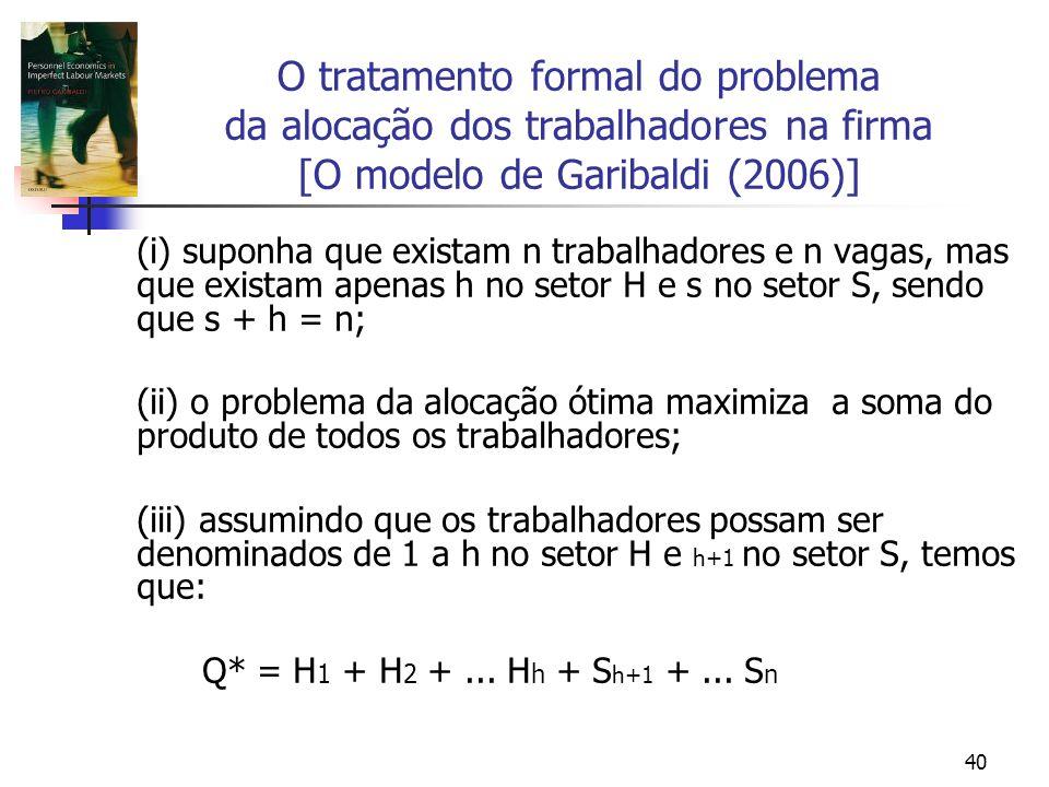 40 O tratamento formal do problema da alocação dos trabalhadores na firma [O modelo de Garibaldi (2006)] (i) suponha que existam n trabalhadores e n vagas, mas que existam apenas h no setor H e s no setor S, sendo que s + h = n; (ii) o problema da alocação ótima maximiza a soma do produto de todos os trabalhadores; (iii) assumindo que os trabalhadores possam ser denominados de 1 a h no setor H e h+1 no setor S, temos que: Q* = H 1 + H 2 +...