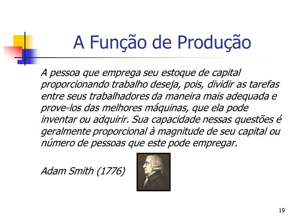 18 A Função de Produção Smith (1776) supôs que existisse um fluxo automático de inovações que permitisse à divisão do trabalho adaptar-se ao tamanho d